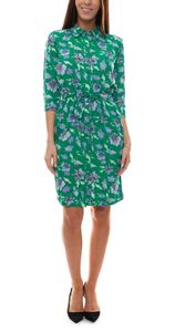 GARCIA Hemdblusen-Kleid sommerliches Damen 3/4 Arm Kleid mit Alloverprint Grün, Größe:M/38