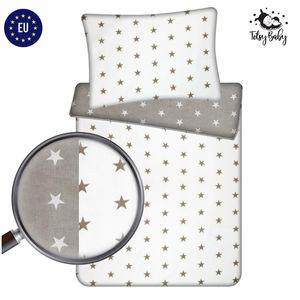 Babybettwäsche 100 x 135 cm Kinderbettwäsche Bettwäsche doppelseitige Baby Set 2 teilig mit Kissenbezug handgenäht 100% Baumwolle 135x100 cm weiß grau mit Sternen