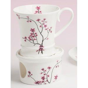 Tasse, Becher auf Stövchen CHERRY BLOSSOM Kirschblüten weiß rosa TeaLogic