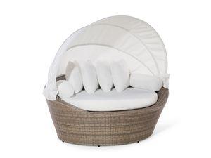 Strandkorb hellbraun/cremeweiß Polyrattan Baumwolle 2-Sitzer Sonnendach inkl. Kissen