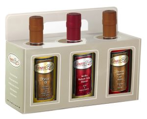 Essig & Öl Geschenk Box 3x0,35L in  Pastaöl / Balsamessig Bianco / Peperoni Olivenöl