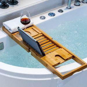 WYCTIN Badewannenablage aus Bambus | 70-105cm*23*3cm | ausziehbare Badregal Badewannenbrett