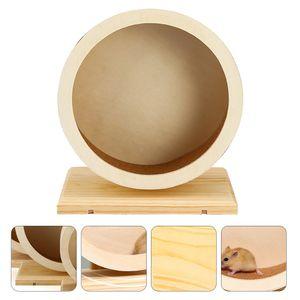 1PC Holz Stumm Hamster Laufrad Chinchilla Hamster Sportspielzeug (Holzfarbe)