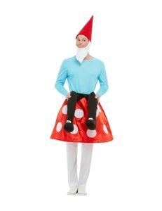 Zwergen-Huckepack-Kostüm auf Pilz für Erwachsene Faschingskostüm rot-weiss-blau