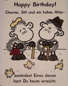 sheepworld - 50586 - Postkarte, Nr. 66, Geburtstag, Schaf, Happy Birthday! Charme, Stil und ein hohes Alter - zumindest eines davon hast Du heute erreicht., Pappe