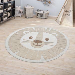 Kinderteppich Kinderzimmer Outdoorteppich Rund Spielteppich 3D Effekt Löwe Beige, Grösse:Ø 160 cm Rund