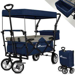 TRESKO Bollerwagen Blau Faltbar Handwagen Klappbar Gartenwagen mit Dach Transportwagen XXL
