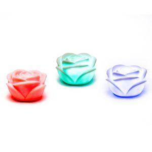 3er Set / Pack: Schwimmende LED Rose Deko Lampe mit Farbwechsler Kerze Farbspiel