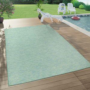 In- & Outdoor-Teppich Für Wohnzimmer, Balkon, Terrasse, Flachgewebe In Türkis, Grösse:140x200 cm