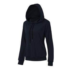 Damen Hoodie Tasche Langarm Duenn Sweatshirt Pullover Casual Tops Fruehling Herbst[Marine-L]