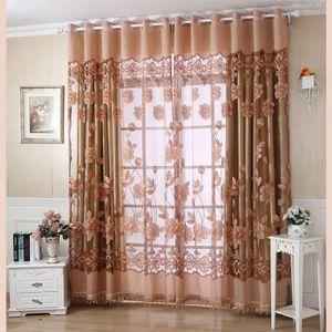2Pcs Floral Pattern Fenstervorhänge mit Perlen Tür Voile Vorhang, 100 * 250cm【Kaffee】