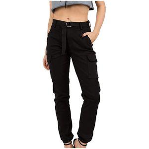 Slim Fit Jogger Cargo Camouflage Pants für Damen mit hoher Taille für With Matching Größe:M,Farbe:Schwarz