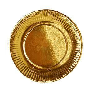 6 Teller, Pappe Ø 19 cm gold
