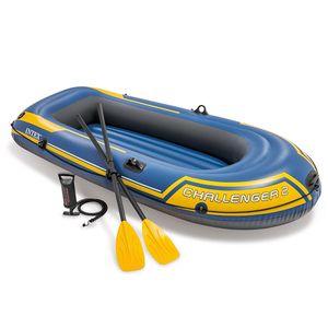 Intex Boot Schlauchboot Angelboot Ruderboot Challenger für 2 Personen, Set mit Paddel und Luftpumpe ,236x114x41cm Maximale Tragfähigkeit: 200 kg