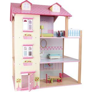 Small Foot 3126 Puppenhaus Rosa Dach 3 Etagen, drehbar, rosa/natur/hellblau (1 Stück)