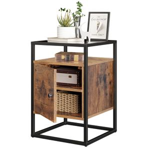 VASAGLE Nachttisch mit Schrank   stabiles Hartglas   einfacher Aufbau Nachtschrank Sofatisch Glastisch Beistelltisch Vintage dunkelbraun LNT05BX