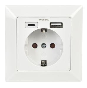 Schutzkontakt-Steckdose mit USB Anschluss für USB-C und USB-A