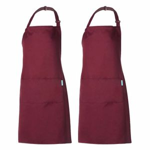 Schürze Kochschürze Küchenschürze 2 Set mit 2 Taschen Latzschürze kochschürze für Frauen Männer Chef verstellbarem Nackenband
