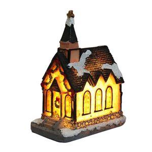 Harz Kirche Haus LED Licht Ornament Weihnachtsdekoration Shabby Chic Ornament Farbe Stil 1