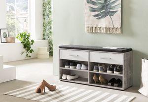 Wilmes Schuhregal mit 4 Fächern, 2 Schubladen und Sitzkissen, Melamin Beton Nachbildung Front Weiß