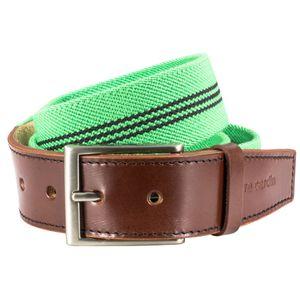 STRETCH StoffGürtel TextilGürtel BandGürtel mit Lederendstück / Gürtel Herren Pierre Cardin, 70143 grün-schwarz, Größe / Size:95, Farbe / Color:grün