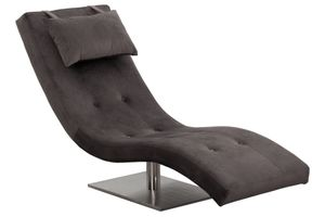 SalesFever Relaxliege mit Nackenkissen | Stoffbezug in Samt-Optik | Gestell Edelstahl | B 60 x T 170 x H 82 cm | grau
