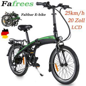 FAFREES 20F055 250W E-Bike 36V 7.5AH Klappbares Elektrofahrrad 20 Zoll Montainbike 25KM / H Citybike LCD Dispaly Elektrofahrräder 7-Gang Getriebe