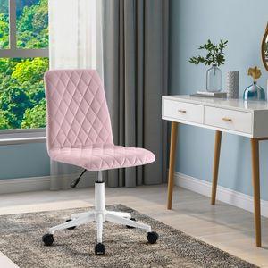 Schreibtischstuhl Drehstuhl Rosa Bürostuhl Samt Höhenverstellbar 113kg tragen Bürodrehstuhl Drehbar für Büro Schreibtisch Schminktisch