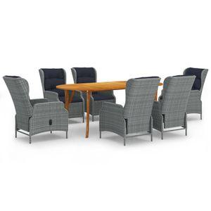 Neues- 7-tlg. Garten-Essgruppe|Bistroset|Sitzgruppe für 6 Personen Gartenmöbel-Set mit Tisch,6 Sessel, Hellgrau🌹7660