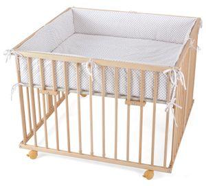 WALDIN Baby Laufgitter Laufstall ca. 100x100 BUCHE MASSIV, höhen-verstellbar, 2 Modelle wählbar, Größe:Natur/unbehandelt, Farbe:Mit-Nestchen-Grau/Punkte