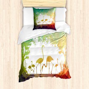 ABAKUHAUS Flamingo Bettbezug Set für Einzelbetten, Modern Mehrkantig Tiere, Milbensicher Allergiker geeignet mit Kissenbezug, Mehrfarbig
