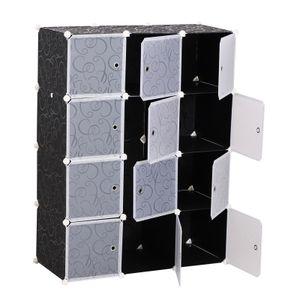 HOMCOM Kleiderschrank DIY Garderobe Regalsystem Steckregal Würfel Garderobenschrank mit Kleiderstange 2 + 6 Fächer aus PP Schwarz + Weiß 111 x 47 x 145 cm