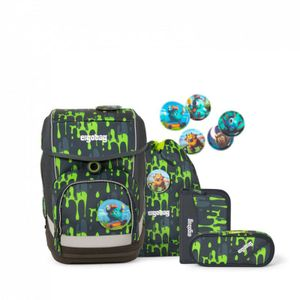 Ergobag Schulrucksack Set (5-tlg.) cubo, GlibbBär, Farbe/Muster: Slim