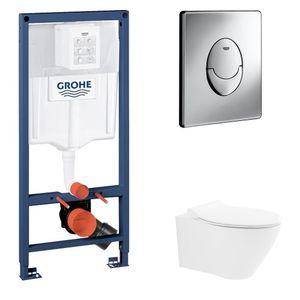 ALL IN ONE I Alpenberger Spülrandloses Tiefspül WC aus Sanitärkeramik mit Slim WC-Sitz I mit Grohe Spülkasten und Grohe Betätigungsplatte