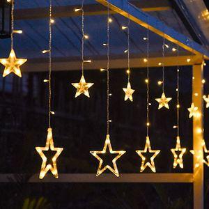 LED Lichterkette Fenster Lichtervorhang mit 12 Sterne Weihnachten Beleuchtung Party Deko 2,5m 138 LEDs Warmweiß 8 Modi Innen & Außenlichterkette Dekoration Sternenvorhang Festen Partydeko