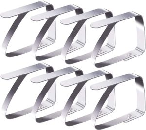 8 Stück Tischtuchklammern Edelstahl, Tischdeckenklammer Tischabdeckungsklemmen Tischdecke Clips Tischtuch Clips - Silber