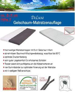 8cm DeLuxe Gelschaum Matratzen Auflage (180x200cm) Topper RG65 TOP