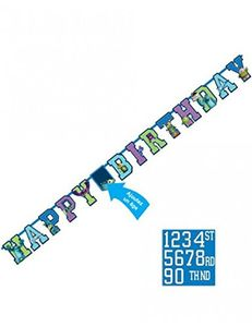 Party Girlande Happy Birthday Monster AG bunt mit Zahlen 1,8 m