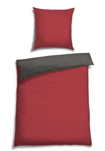 Schiesser Wendebettwäsche Doubleface Rot-Anthrazit, 100% Baumwolle, Größe: 135 x 200 cm + 80 x 80 cm