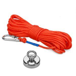 Navaris Angelmagnet mit 20m Seil und Karabiner - 160 kg Magnetzugkraft - Neodym Magnet extra stark zum Magnetfischen - Starker Ösenmagnet 6 x 5,5cm