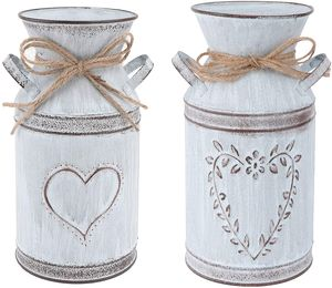 Welikera 2 Stücke Vintage Blumenvase Herz Milchkanne Eisen Blumentopf Shabby Deko Landhausstil Vase Rustikal Blumeneimer