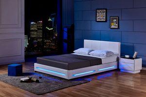 LED Bett ASTEROID- Variantenauswahl, Farbe:weiß, Größe:140 x 200 cm