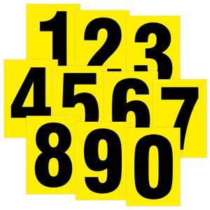 Zahlenset 0-9 schwarz auf gelb wetterfest als Aufkleber Klebezahlen 80 mm