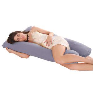 U Form Kopfkissen für Schwangere mit Kissenbezug 60×120 cm, Grau