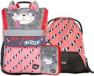 Baagl Schulranzen Mädchen Set 4 Teilig, Zippy Schultasche ab 1. Klasse, Grundschule Ranzen mit Brustgurt, Ergonomischer Schulrucksack (Doggie)