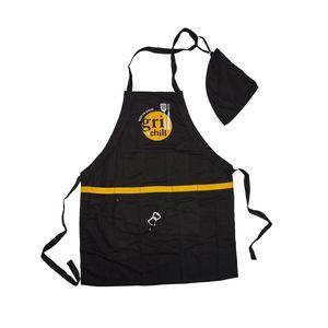 Silvertree Long Beach Multifunktionsgrillschürze | Länge 89 cm | schwarz | 5 Taschen | mit Flaschenöffner | mit Werkzeuggürtel | mit abnehmbarer Kapuze