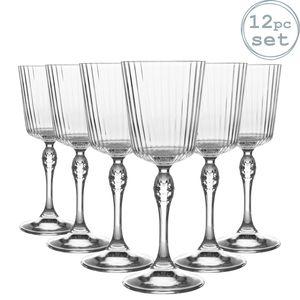 Bormioli Rocco 12 Stück America '20s Cocktail-Gläser-Set - Vintage Art Deco Cocktail Weinstielglas Glas - 250ml