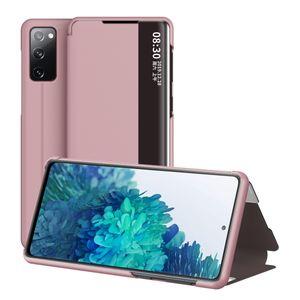 Galaxy S20 FE Hülle, Klapphüllen mit Sichtfenster Smart View Leder Tasche mit Standfunktion Schutzhülle für Samsung Galaxy S20 FE (Fan Edition) Roségold