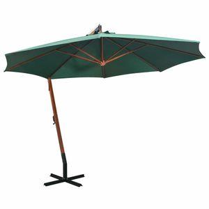 Huicheng Sonnenschirm Ampelschirm Ø 350 cm Kurbelsonnenschirm Marktschirm mit Handkurbel Holzmast Grün