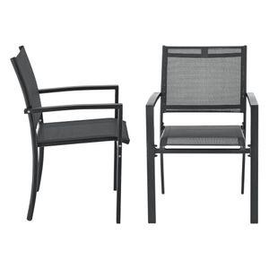 Gartenstuhl 2er Set Outdoor-Stuhl 88x57x57cm Stuhl Wetterfest Stapelbar PVC Polyester Stahl Schwarz